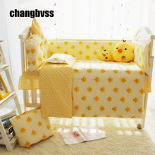Cute Yellow Chicken Cartoon Designer Baby Boy Bedding Cribs Set, Baby Bed Linen Cot Set, 4 to 10 Pcs Baby Crib Bedding Set