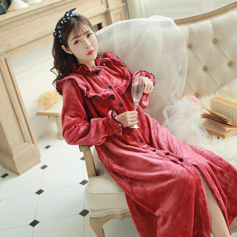Retro Royal Princess Bathrobe Red Wine Thermal Coral Fleece Robes Winter Long-Sleeved Flannel Sleeping Dress A088
