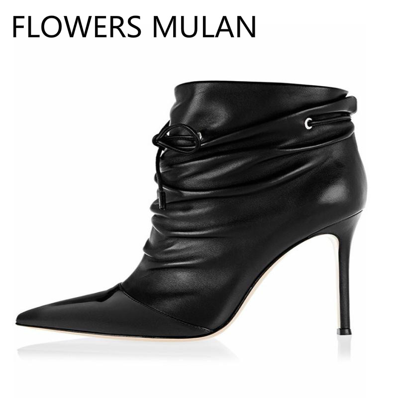 Mujeres Elegante Tobillo Nudo Botas De Botines Mariposa Para Frente Encaje Negro Del Zapatos Falda Dedo 4q1WqfP6