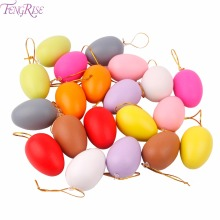 FENGRISE 20pcs Plastic Hanging Easter Eggs Happy Easter Decoration Handmade DIY Painted Eggshel Kids Favors Graffiti Egg Gifts(China)