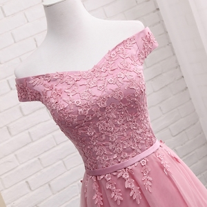 Image 3 - QNZL987D#Off Shoulder Gauzy pink lace up bridesmaid dresses new spring summer 2020 short Middle long style party prom dress