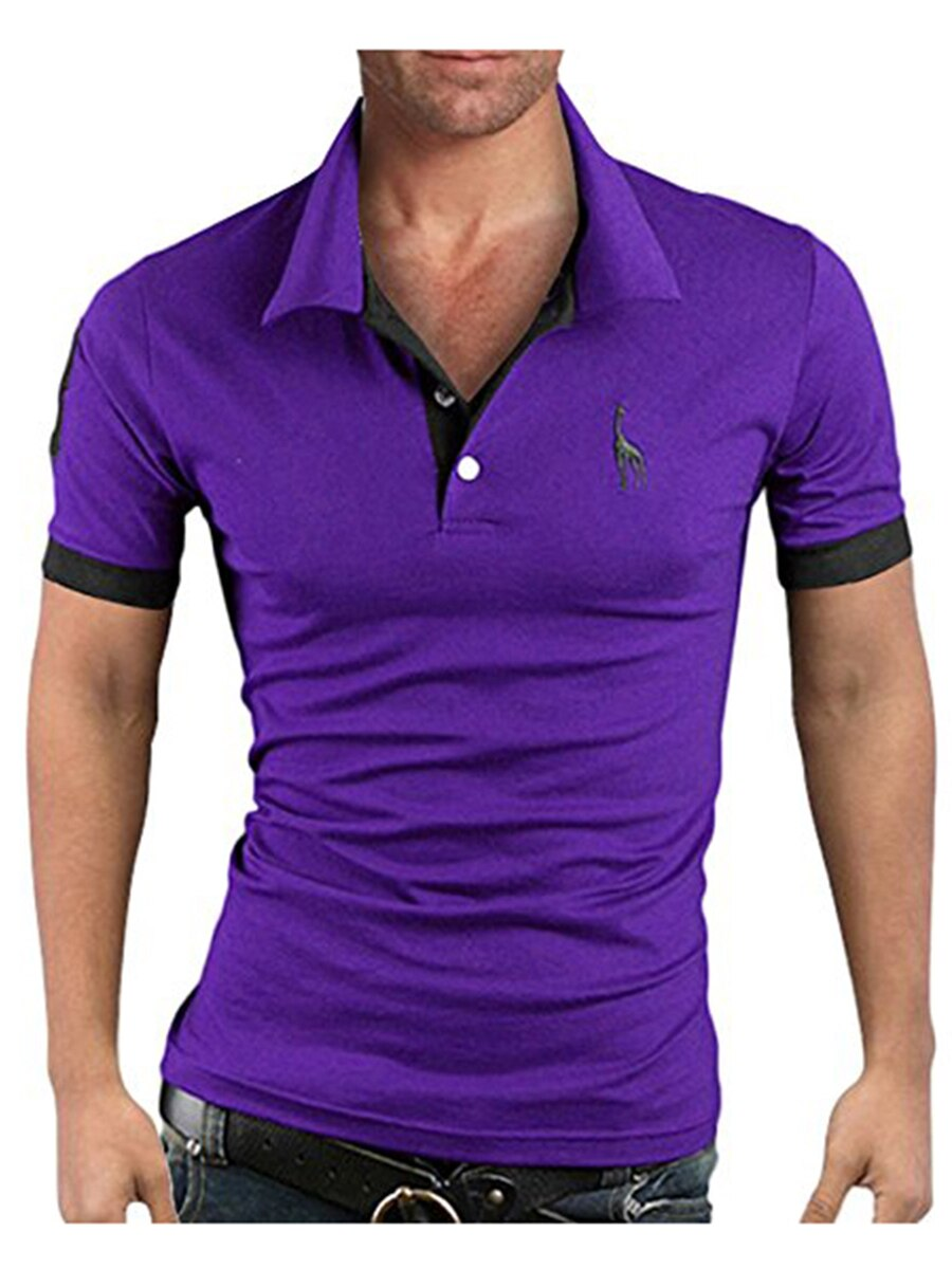Men's Polo Multi-Color Deer High Quality Cotton Polo Shirt Men's Short Sleeve Slim Business Casual Solid Fit Tops 19