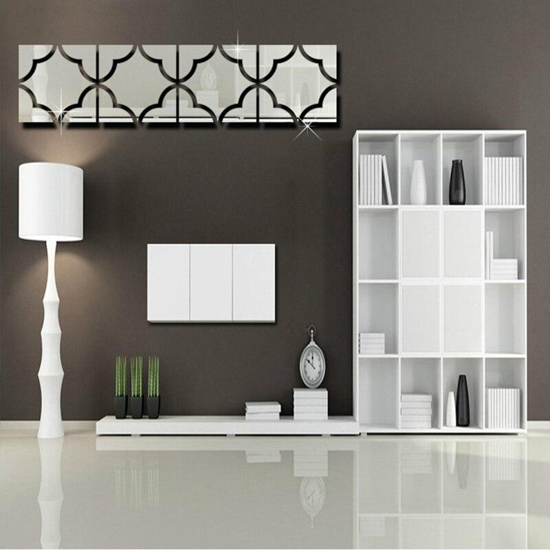 Горячая Распродажа 4 шт. комплект самоклеющиеся зеркало плитка 3D наклейки Наклейка на стену Книги по искусству Home Decor 20X20 см, серебряный