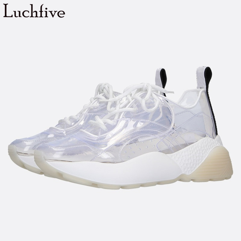 Luchfive Clear Plastic Flat Shoes Woman Round Toe Thick Polyurethane Bottom Casual 2019 New Cross-Tied Sheepskin Insole SneakersLuchfive Clear Plastic Flat Shoes Woman Round Toe Thick Polyurethane Bottom Casual 2019 New Cross-Tied Sheepskin Insole Sneakers