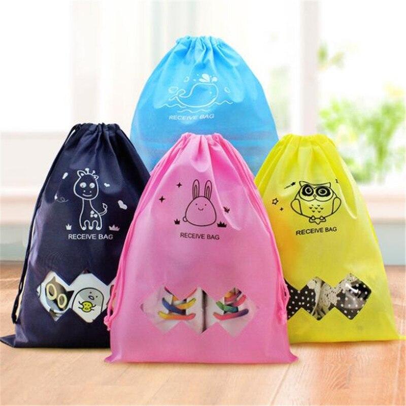 Fashion Portable Shoe Storage Bag Cartoon Printed Non-Woven Drawstring Harness Pocket Travel Clothing Storage Bag Shoe Bag