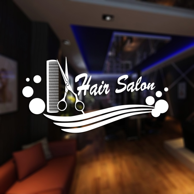 DCTAL Hair Salon Barber Shop Sticker Name Scissors Decal Neutral Haircut Poster Vinyl Wa ...