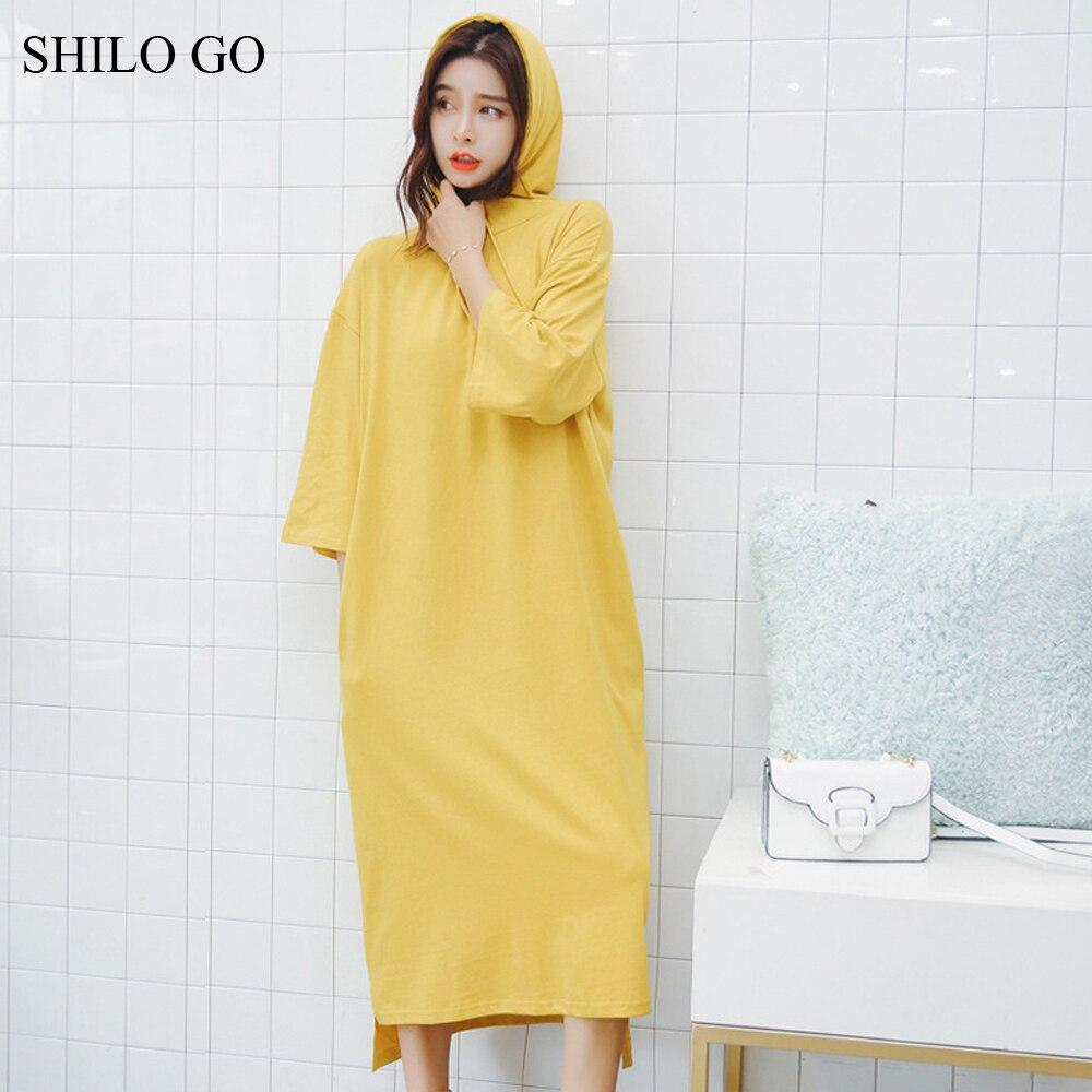 SHILO aller robe femmes été mode Concise décontracté O cou demi manches robe à capuche concise lâche côté pocekt fente longue robe