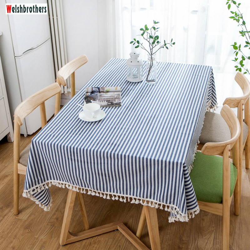 Striped cotton and linen printed tablecloth living room table party pillowcase home textile fabric decoration factory direct2018