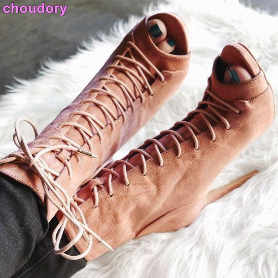 Women Autumn Trendy Short Boots Lace-up Beige Royal Blue Suede Leather Ankle Sandal Boots Cross Tied Thin High Heels Party Shoes kaeve blue denim lace up ankle boots fashion casual thin heels cross tied pumps round toe cowboy shoes jean snow boots