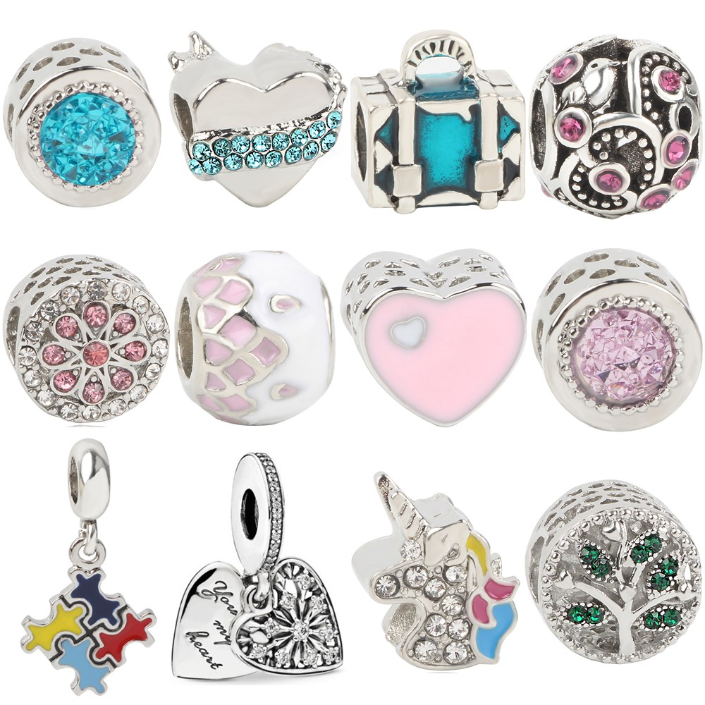 European DIY Tree Luggage Love Horse Snowflake Mickey Beads Fit Pandora Charms Bracelets for Women Party Jewelry Trinket Gifts in Beads from Jewelry Accessories