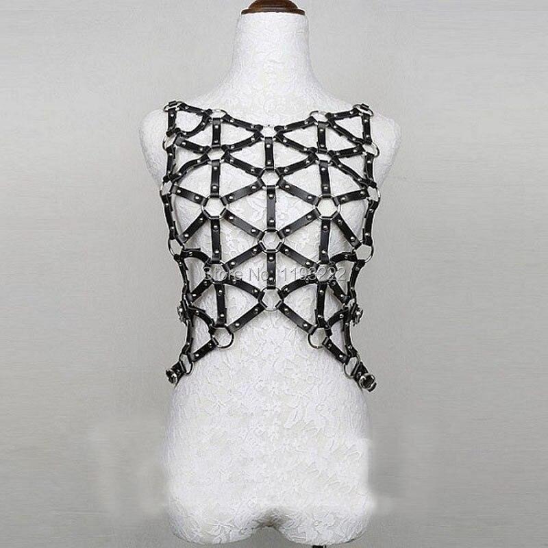 Punk Rock Gothic Handcrafted Handmade HarnesPub Club Bar Party Leather Body Belt   Bustier     Corset   Suspender Straps