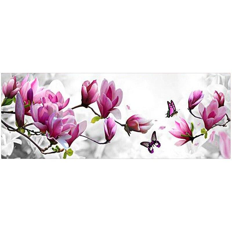 126X47 cm 5D diamant peinture magnolia fleur DMC 447 couleur diamant broderie feutre bricolage diamant mosaïque pour la décoration de la maison cx