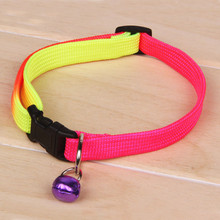 Rainbow Color Adjustable Pet Dog Collars With Bell