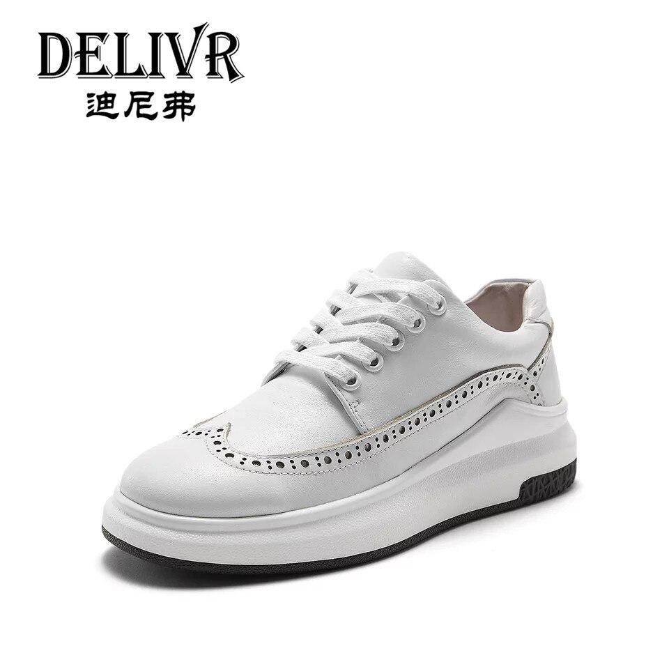 Delivr blanc femmes Chunky chaussures plate-forme en cuir véritable baskets femmes 2019 luxe épais semelle mode dames chaussures décontractées