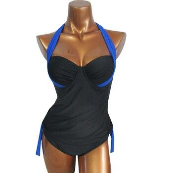 NAKIAEOI Swimwear Women Swimsuit 2018 Sexy Push Up Tankini Set Vintage High Waisted Bathing Suit Summer Beach Wear Plus Size 3XL 4