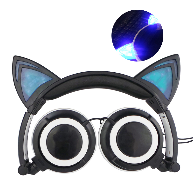 Wired Cat Ear Headphone Gaming Flashing Glowing Parade Stereo Music Earphone With LED For PC Laptop Mobile Phone