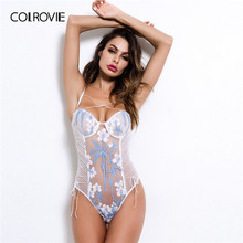 COLROVIE Floral Gestickte Spitze-up Sheer Teddy Body Frauen 2019 Sommer Criss Cross Sexy Dessous Nachtwäsche Damen Nachtwäsche(China)