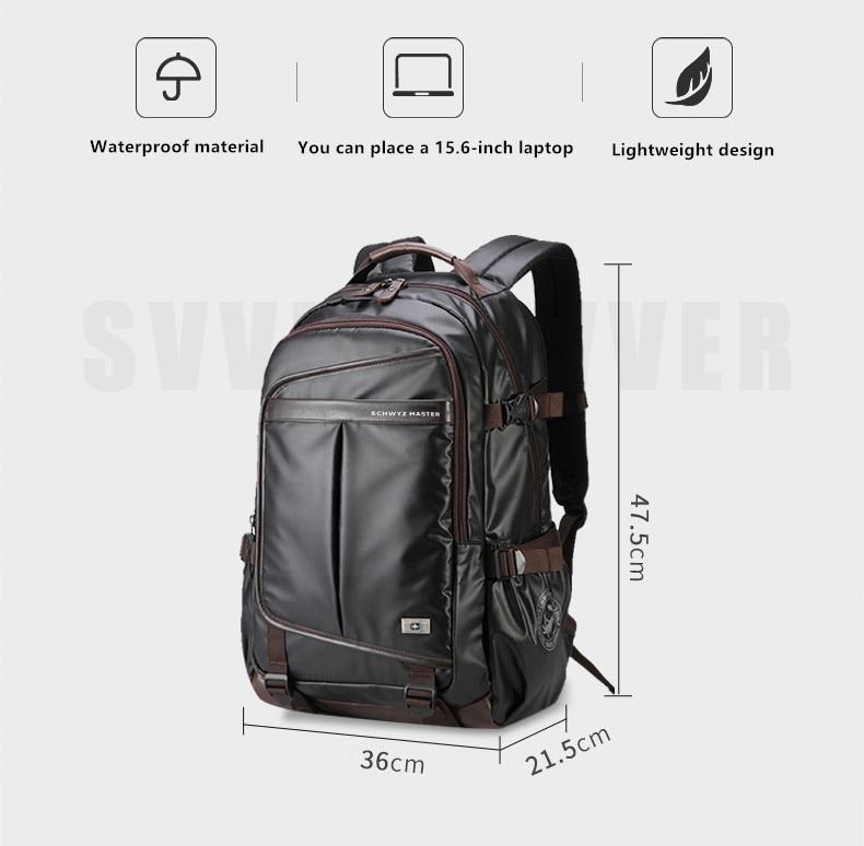 Svvisssvver 다기능 가죽 배낭 남성 가방 패션 방수 여행 usb 충전 15.6 인치 노트북 배낭 남자-에서백팩부터 수화물 & 가방 의  그룹 2