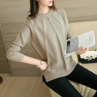 2017Women Autumn Sweater Long Sleeve O Neck Loose Solid Twisted Splited Ends Pullovers Winter Warm Tops