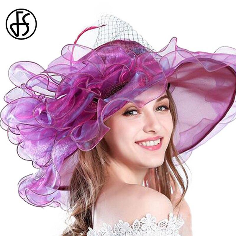 FS 9 Colors Fashion Summer Organza Sun Hats For Women Elegant Ladies Church Vintage Hat Wide Large Brim With Big Flower Fedoras