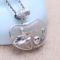 MetJakt Vintage Long Life Lock Pendant Natural White Jade Pendant with Zircon 925 Sterling Silver Pendant for Sweater Chain