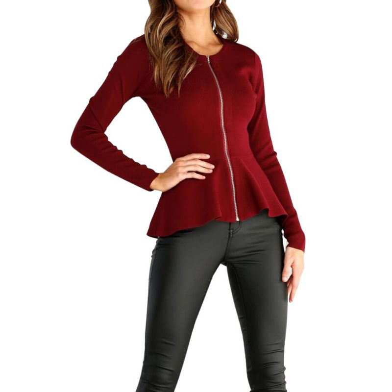Women Female Plus Size Autumn Long Sleeve Pockets Slim Short Cardigan Coat Zipper Basic Jacket Casual Outwear