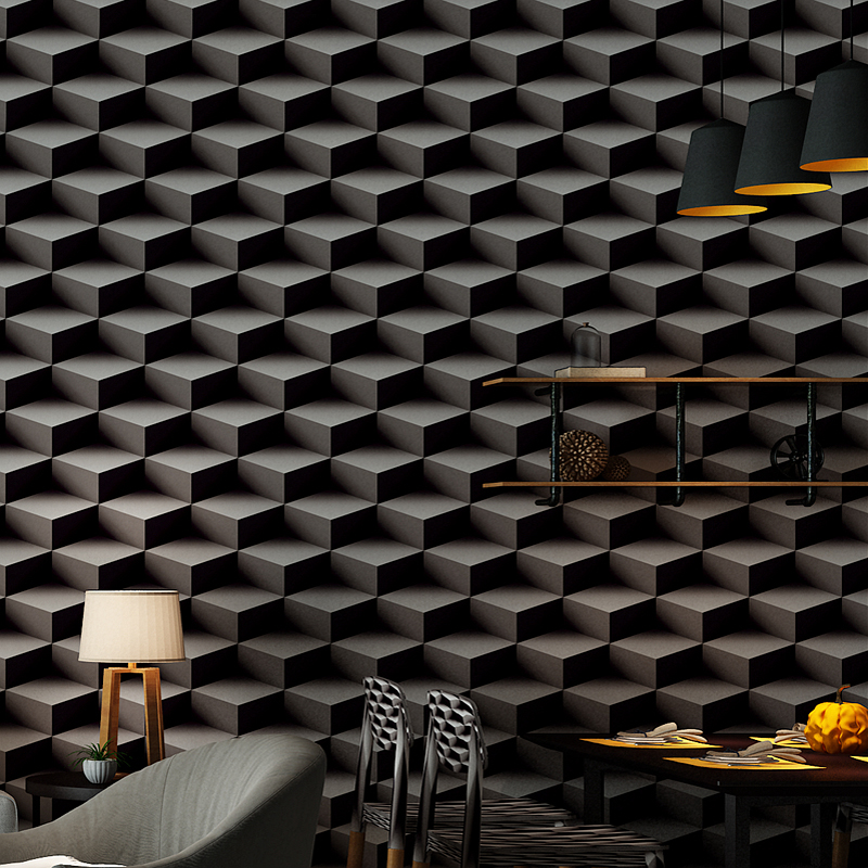3D Stereoscopic Black Lattice Wallpaper For Walls Roll PVC Material Living Room Sofa TV Background Wall Papers Home Decor Modern dark geometry modern 3d wallpaper walls tv unit texture black background living room wall paper roll for home decor