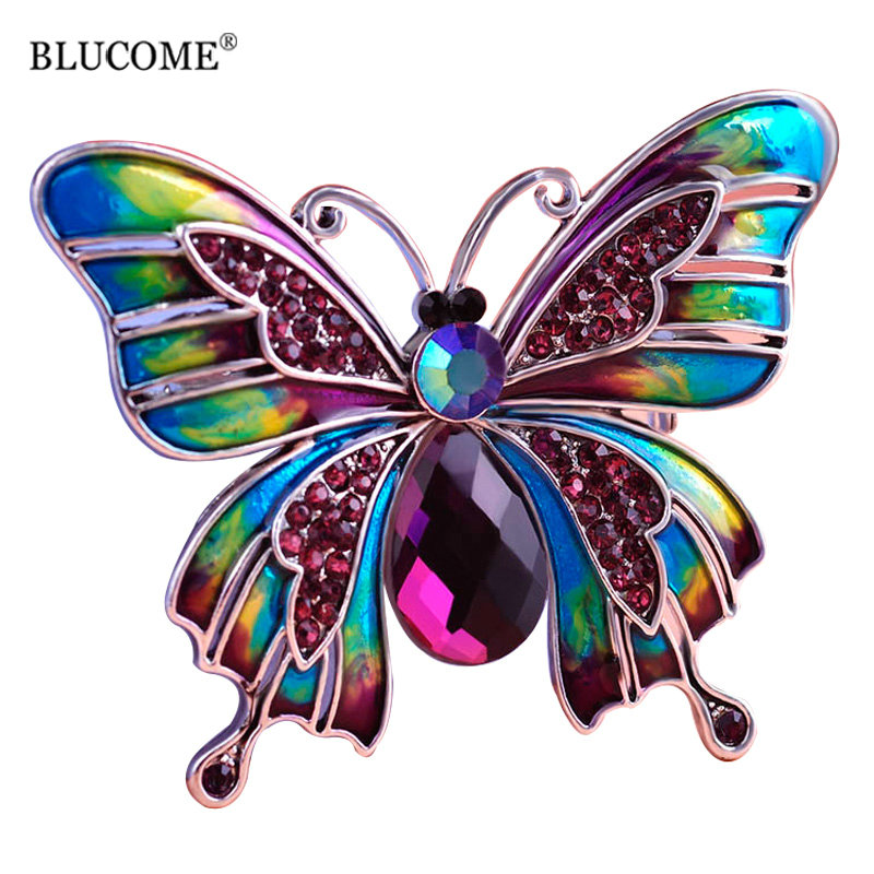 Blucome Vintage Purple Crystal Butterfly Brooch Hijab Pins Blue Green Enamel Animal Brooches For Dress Scarf Collar Women Party
