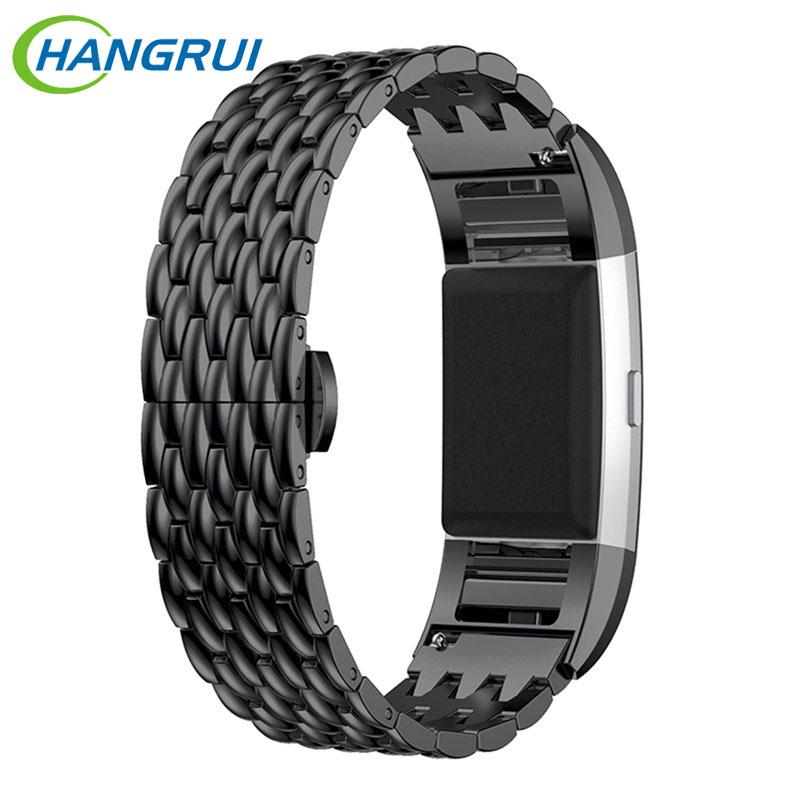 Hangrui Smart Watchband Stainless Steel Watch Strap Metal Bracelet For Fitbit Charge 2 With Three Color Black Gold Silver