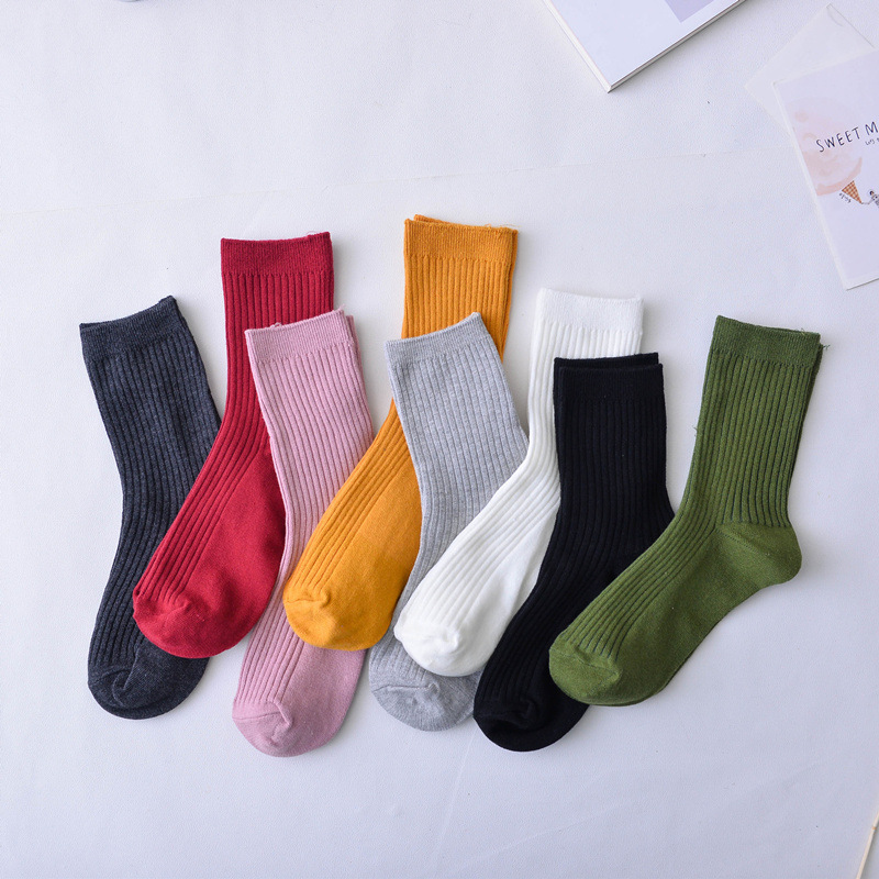Women Brand Basic Socks Daily Socks  Solid Colors Comb Cotton Knitted Girls Casual Socks High Quality Spring Socks Calcetines