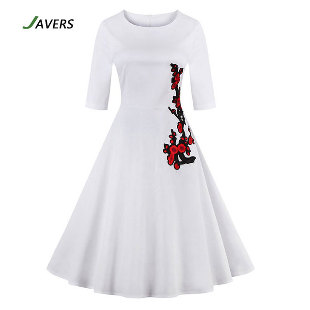Javers Women Half Sleeve Flower Embroidery 50s 60s Vintage Dress