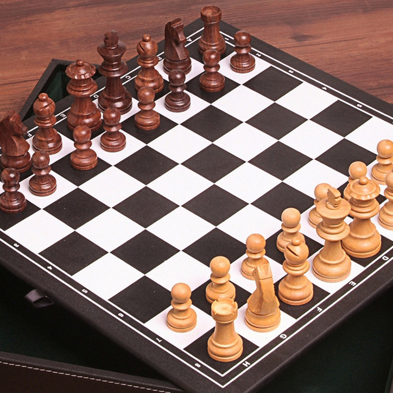 BSTFAMLY wood chess set game, portable game of international chess, High-grade leather box chessboard wood chess pieces, LA37 bstfamly carving wooden chess set game portable game of international chess folding chessboard wood chess pieces chessman i13