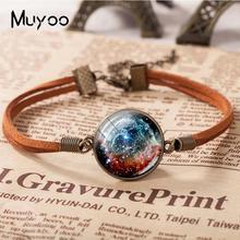 Галактический астрономический браслет шлем Тора Туманность кожаный браслет Художественный стеклянный купол фото ювелирные изделия