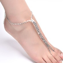 Hot fashion ladies crystal wedding bridal barefoot sandals anklet anklet chain girls like