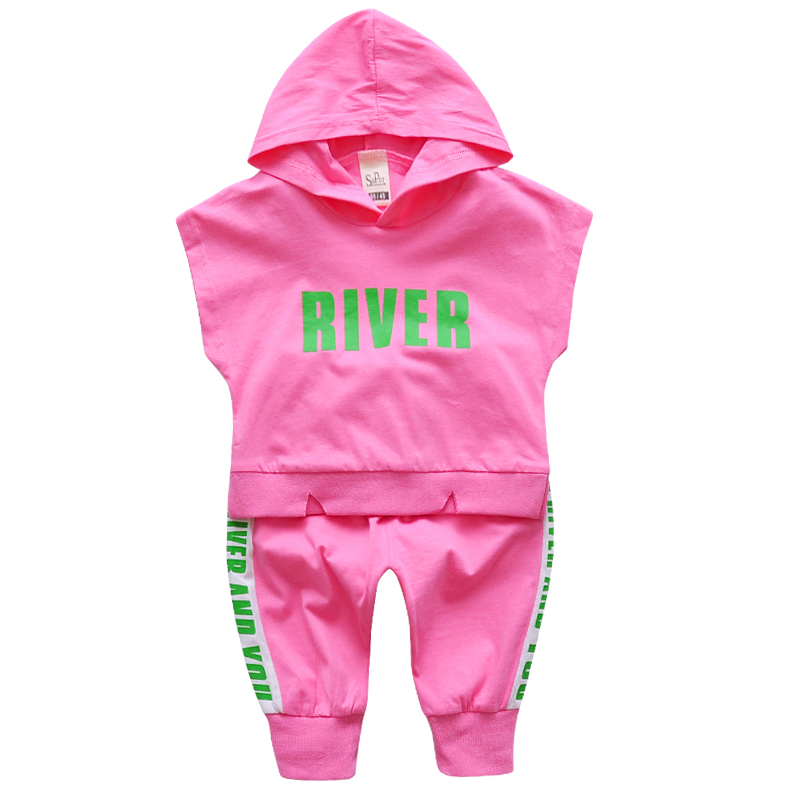 2018 New Childrens clothing set baby Girls cloth sets summer sleeveless letter sports stitching set for 1T-5T girl kid suit