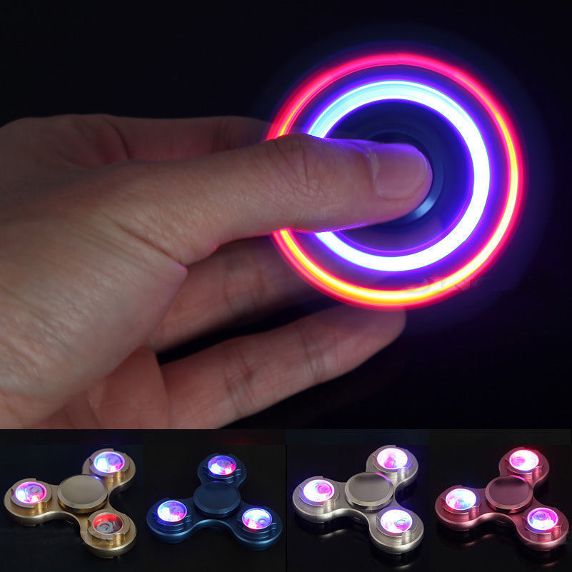 Hot LED Flash Fidget Spinner Aluminum Hand Finger Focus EDC Bearing Anti Stress Toys Spinning Top