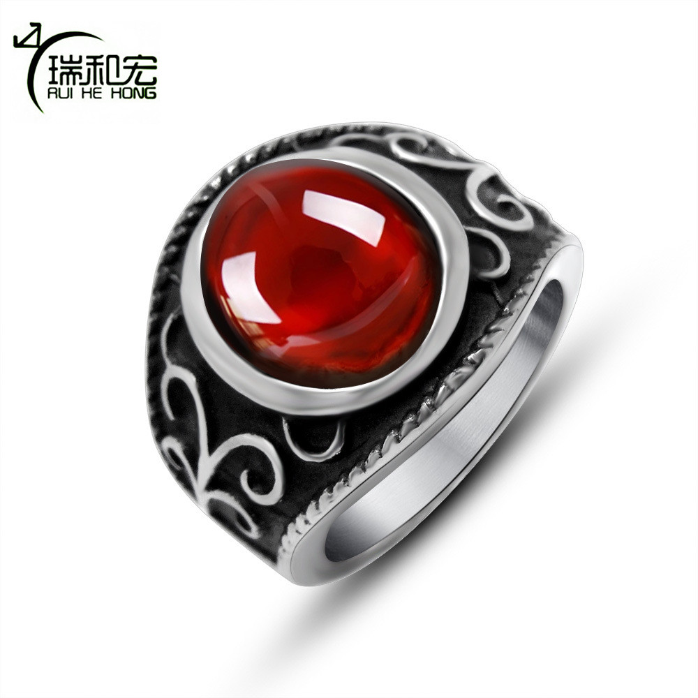 Royal Magic Red Garnet Ring Vintage Black Titanium Steel Sculpture Pattern Rings for Women Men Punk Style Jewelry Wholesale in Rings from Jewelry Accessories