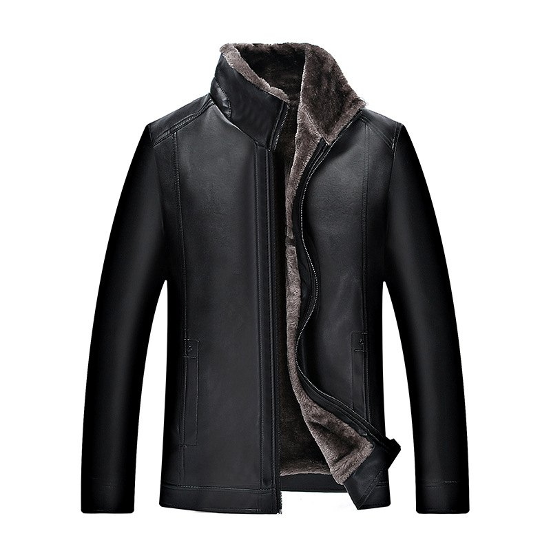 <font><b>Men</b></font> <font><b>winter</b></font> fashion new thick warm leather jacket 2018 <font><b>fur</b></font> one artificial leather <font><b>men</b></font> <font><b>shirt</b></font> middle-aged plus velvet leather jacke image