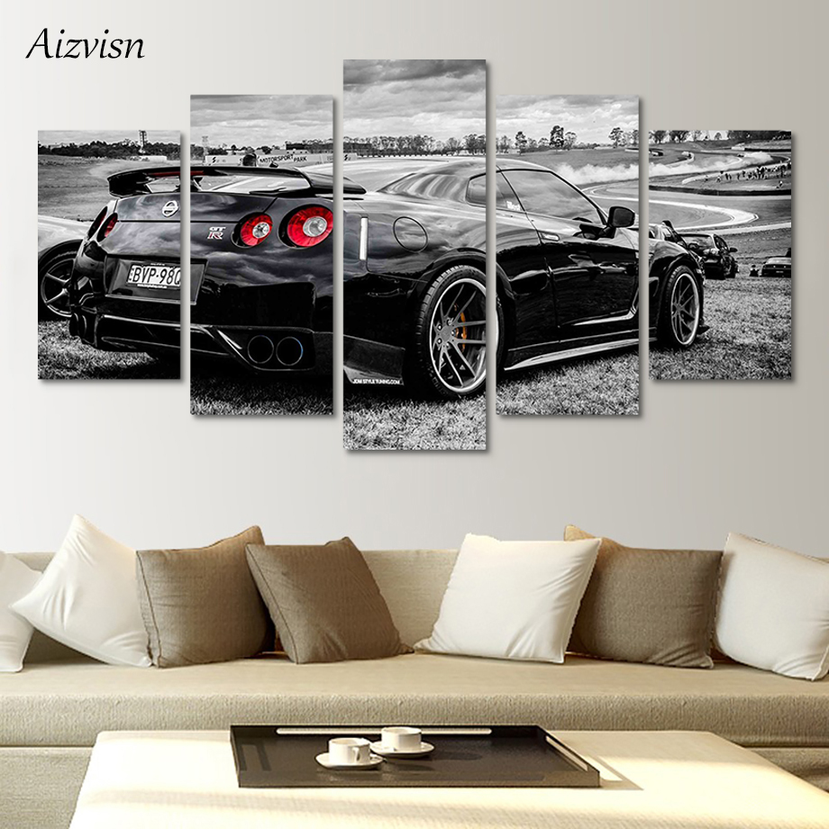 Aizvisn Modular Wall Art Pictures Canvas HD Printed Poster Modern Home Decor 5 Piece Flashy Nissan Gtr Sports Car Painting Frame