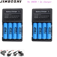 8packs 18650 3.7v 1600mah 18650 Lithium Rechargeable Battery For Panasonic Flashlight batteries+2pcs 18650 16340 Charger