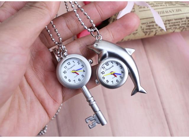 Little dolphin key desigh Quartz Pocket Watch Key chain Pendant Womens Men GIfts