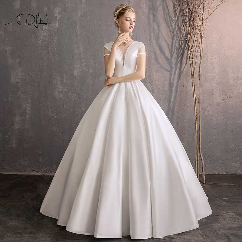 Adln Vintage White Ivory Satin A Line Wedding Dresses With Short