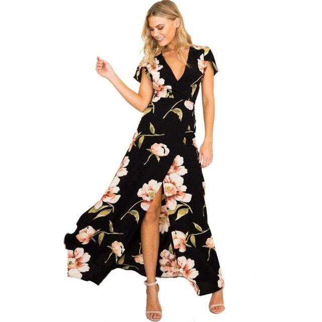 Summer Beach Long Dress Women Sexy Low-cut Deep V Floral Chiffon Maxi Dress  Front a6fd304ee