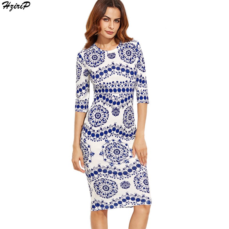 2017 Summer New Arrival Elegant Bodycon Vintage Blue and white porcelain Print Women Pencil Dress Half Sleeve Ladies Vestidos