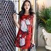 Original 2018 Brand Summer Ladies Fashion OL Sleeveless Swan Printed Red Vest Party Dresses Women Wholesale