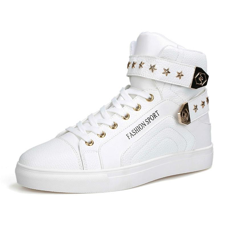 Prix pour Haute Tops Sneakers Hommes Noir Blanc Rouge en cuir Cool Garçons Skateboard Chaussures pour Vente EU39-44 M03216