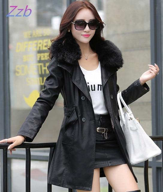 Меховой воротник женщин кожаная куртка зима пальто верхняя одежда толщиной кожаное пальто Плюс Хлопок 2017 новая мода женская clothing
