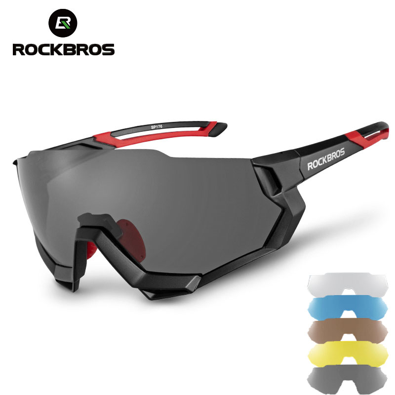 ROCKBROS <font><b>5</b></font> <font><b>Lens</b></font> Cycling <font><b>Glasses</b></font> Bicycle <font><b>Glasses</b></font> Polarized Photochromic Eyewear Men Women <font><b>Bike</b></font> Outdoor Sports Sunglasses Goggles image