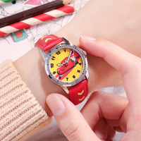 Children's Watches Disney brand children boys wristwatch quartz leather black red Cartoon child boy wristwatch waterproof