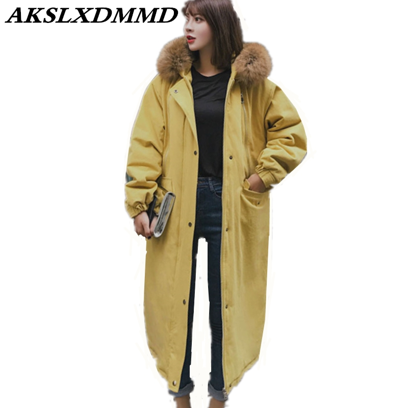 2019 New Women Winter Jacket Hooded Fur Collar Warm Thicken Large Size Loose Long Down Cotton Coat Fashion Solid   Parkas   CW199